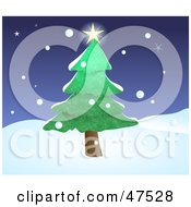 Royalty Free RF Clipart Illustration Of A Bright Star Shining On Top Of An Evergreen Tree In Winter by Prawny