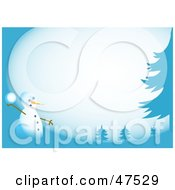 Royalty Free RF Clipart Illustration Of A Blue Border Of A Snowman Throwing Snow Balls by Prawny