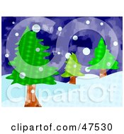 Royalty Free RF Clipart Illustration Of A Hilly Landscape With Evergreen Trees In The Snow by Prawny
