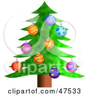 Royalty Free RF Clipart Illustration Of A Green Christmas Tree With Colorful Bauble Ornaments