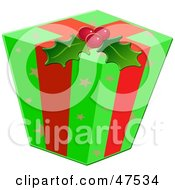 Royalty Free RF Clipart Illustration Of A Christmas Gift Wrapped In Ribbons Holly And Green Paper With Star Patterns by Prawny