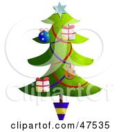 Potted And Decorated Christmas Tree With Garlands And Ornaments