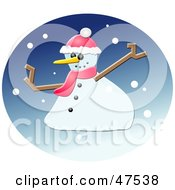 Royalty Free RF Clipart Illustration Of A Winter Snowman With A Hat And Scarf by Prawny