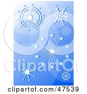 Royalty Free RF Clipart Illustration Of A Blue Background Of Elegant Snowflakes by Prawny