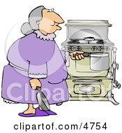 Senior Citizen Preparing To Cook A Home Cooked Meal Clipart