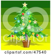 Royalty Free RF Clipart Illustration Of A Potted Christmas Tree Adorned With Decorations