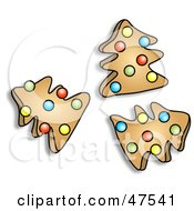 Royalty Free RF Clipart Illustration Of Three Cookies In The Shape Of Christmas Trees
