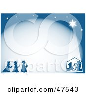 Blue Background Of Wise Men And The Nativity Scene