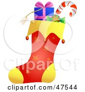 Royalty Free RF Clipart Illustration Of A Yellow And Red Stuffed Christmas Stocking With Star Patterns