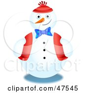 Royalty Free RF Clipart Illustration Of A Jolly Snowman In A Bow Vest And Hat by Prawny