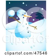 Royalty Free RF Clipart Illustration Of A Feisty Snowman Throwing Snow Balls by Prawny