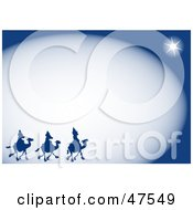 Royalty Free RF Clipart Illustration Of A Blue Border Of The Three Wise Men And The Star Of Bethlehem by Prawny