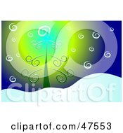 Royalty Free RF Clipart Illustration Of A Curly Christmas Tree In The Snow by Prawny