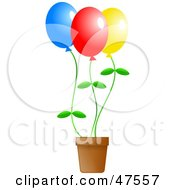 Royalty Free RF Clipart Illustration Of Colorful Flower Balloons In A Pot by Prawny