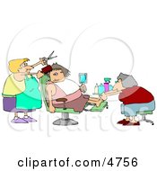Pampered Woman Getting A Pedicure And Haircut At A Beauty Salon Clipart