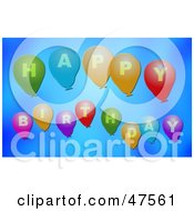 Royalty Free RF Clipart Illustration Of Balloons Spelling Out Happy Birthday On A Blue Background