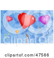Royalty Free RF Clipart Illustration Of A Hand And Heart Balloons Against A Blue Sky