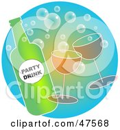 Royalty Free RF Clipart Illustration Of A Bottle Of Bubbly With Glasses Of Champagne