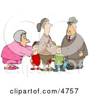 Grandma And Grandpa Standing With Grandchildren And Pregnant Daughter