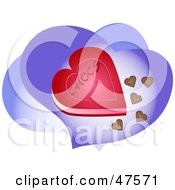 Royalty Free RF Clipart Illustration Of A Heart Shaped Box Of Chocolates On Purple Hearts