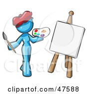 Blue Design Mascot Woman Artist Painting A Portrait