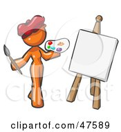 Orange Design Mascot Woman Artist Painting A Portrait