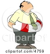Worried Businessman Wearing A Life Preserver Float Tube Around His Waist Clipart