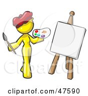 Yellow Design Mascot Woman Artist Painting A Portrait