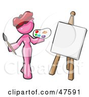 Pink Design Mascot Woman Artist Painting A Portrait