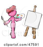 Pink Design Mascot Woman Artist Painting A Portrait