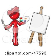 Red Design Mascot Woman Artist Painting A Portrait