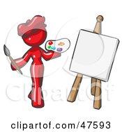 Red Design Mascot Woman Artist Painting A Portrait