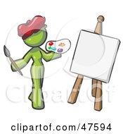 Green Design Mascot Woman Artist Painting A Portrait