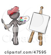 Royalty Free RF Clipart Illustration Of A Gray Design Mascot Woman Artist Painting A Portrait by Leo Blanchette