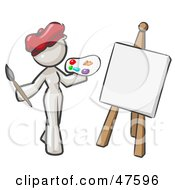 White Design Mascot Woman Artist Painting A Portrait