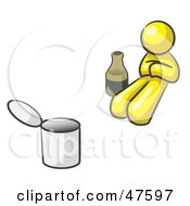 Royalty Free RF Clipart Illustration Of A Yellow Design Mascot Man Bum With Alcohol And A Can