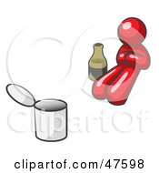 Royalty Free RF Clipart Illustration Of A Red Design Mascot Man Bum With Alcohol And A Can by Leo Blanchette