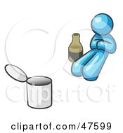 Royalty Free RF Clipart Illustration Of A Blue Design Mascot Man Bum With Alcohol And A Can
