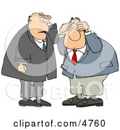 Two Businessmen Thinking About Something Clipart