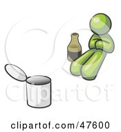 Royalty Free RF Clipart Illustration Of A Green Design Mascot Man Bum With Alcohol And A Can
