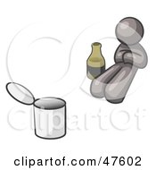 Royalty Free RF Clipart Illustration Of A Gray Design Mascot Man Bum With Alcohol And A Can