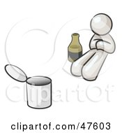 Royalty Free RF Clipart Illustration Of A White Design Mascot Man Bum With Alcohol And A Can by Leo Blanchette