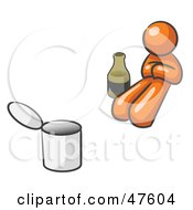 Royalty Free RF Clipart Illustration Of An Orange Design Mascot Man Bum With Alcohol And A Can