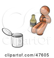 Royalty Free RF Clipart Illustration Of A Brown Design Mascot Man Bum With Alcohol And A Can