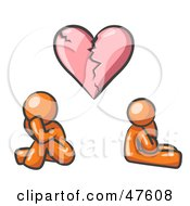 Royalty Free RF Clipart Illustration Of An Orange Design Mascot Man And Woman Under A Broken Heart