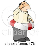 Thinking Ahead Businessman Wearing A Life Preserver Float Tube Around His Waist - Concept