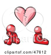 Royalty Free RF Clipart Illustration Of A Red Design Mascot Man And Woman Under A Broken Heart