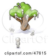 Royalty Free RF Clipart Illustration Of A White Design Mascot Man Watching Others Fall From The Family Tree by Leo Blanchette
