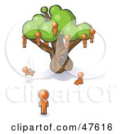 Royalty Free RF Clipart Illustration Of An Orange Design Mascot Man Watching Others Fall From The Family Tree by Leo Blanchette