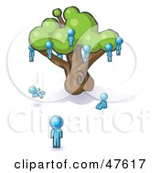 Royalty Free RF Clipart Illustration Of A Blue Design Mascot Man Watching Others Fall From The Family Tree by Leo Blanchette